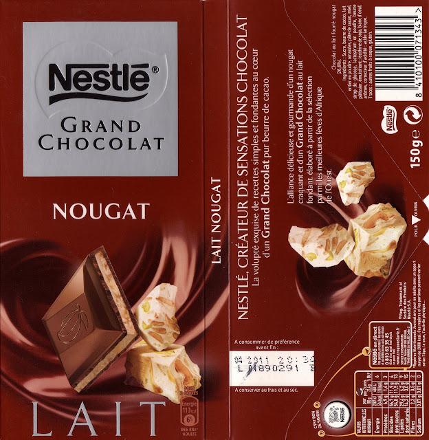 tablette de chocolat lait fourré nestlé grand chocolat nougat