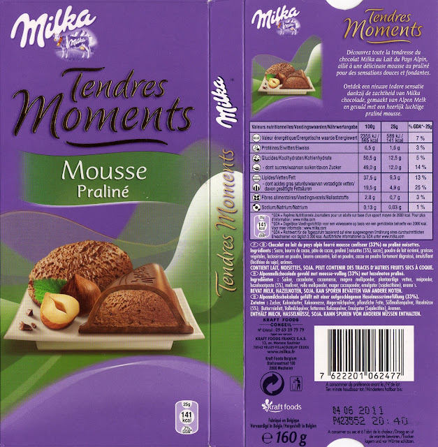 tablette de chocolat lait fourré milka tendres moments mousse praliné