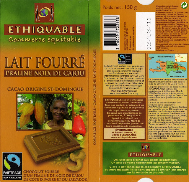 tablette de chocolat lait fourré ethiquable st domingue lait fourré praliné noix de cajou