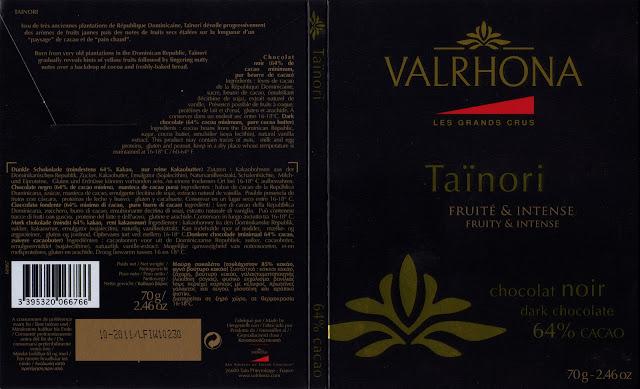 tablette de chocolat noir dégustation valrhona les grands crus taïnori 64