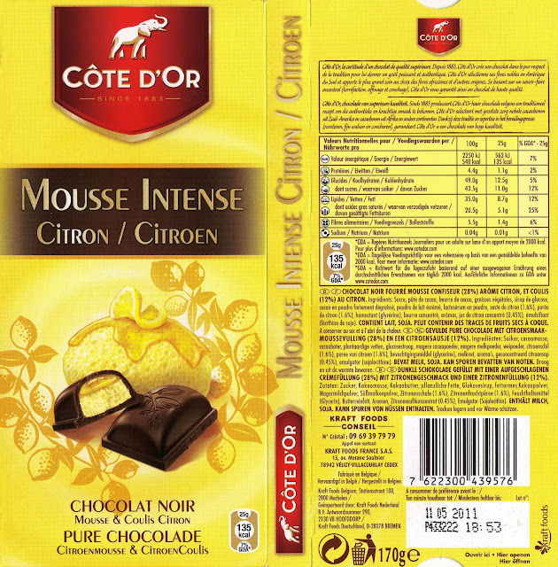 tablette de chocolat noir fourré côte d'or mousse intense citron