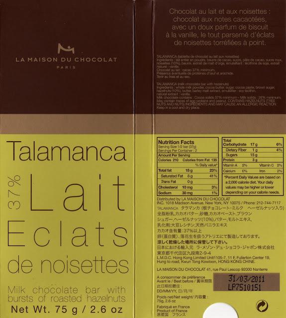 tablette de chocolat lait gourmand la maison du chocolat talamanca lait eclats de noisettes 37
