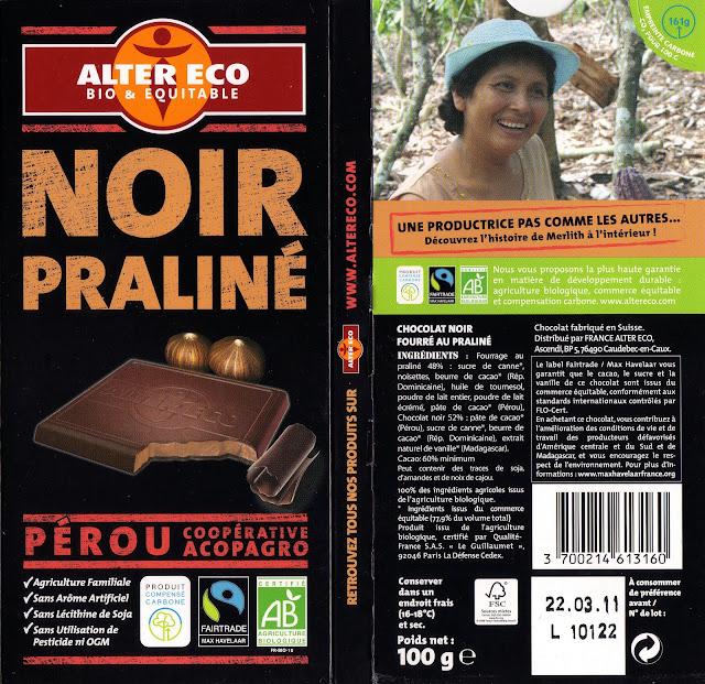 tablette de chocolat noir fourré alter eco pérou noir praliné