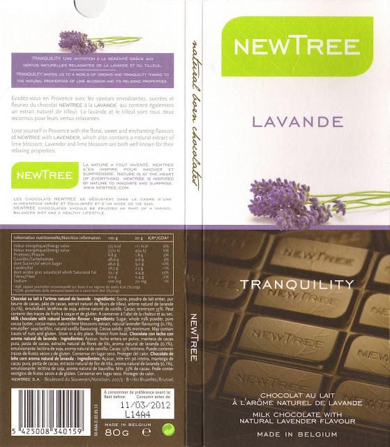 tablette de chocolat lait gourmand newtree lavande tranquility
