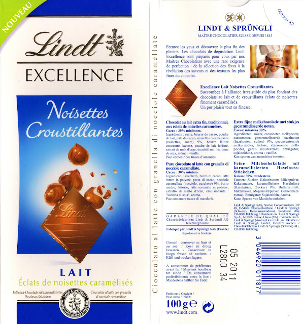 tablette de chocolat lait gourmand lindt excellence noisettes croustillantes