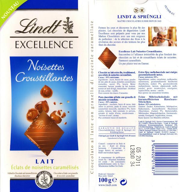 tablette de chocolat lait gourmand lindt excellence noisettes croustillantes