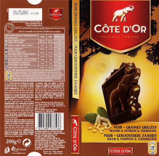 tablette de chocolat noir gourmand côte d'or graines grillées 2
