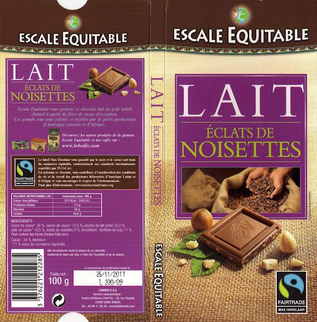 tablette de chocolat lait gourmand escale equitable lait eclats de noisettes