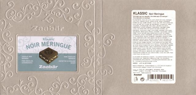 tablette de chocolat noir gourmand zaabär klassic noir meringue