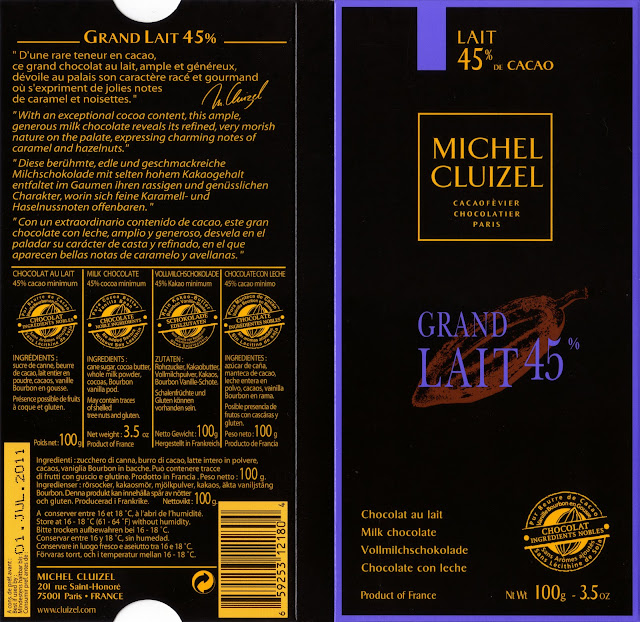 tablette de chocolat lait dégustation michel cluizel grand lait 45
