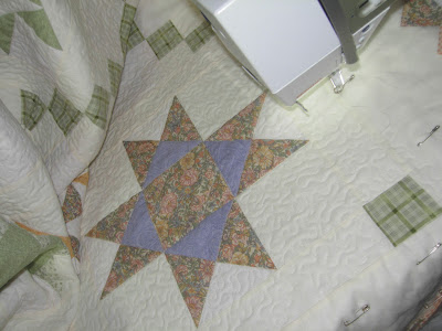 quilting progress on the Star Quilt Along Quilt