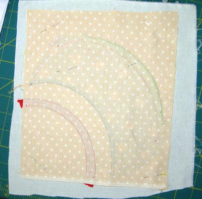 pinning the shape to plain fabric