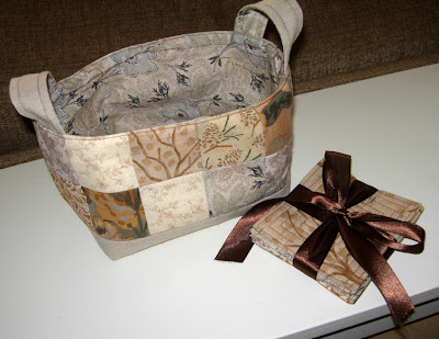 fabric basket and coasters