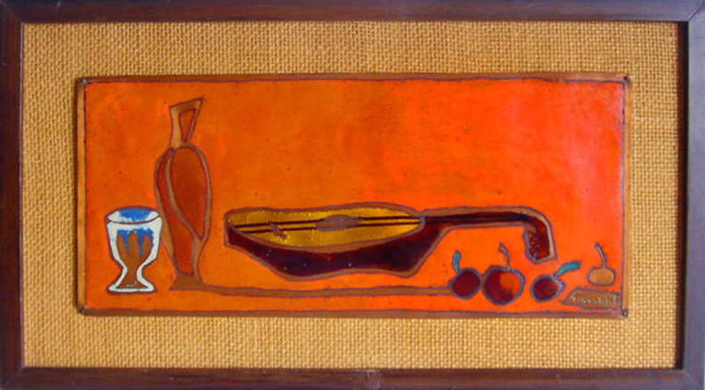 Copper enamel wall plaque dated 1966 my mod mod worlds ebay store for 76 50 at time of post
