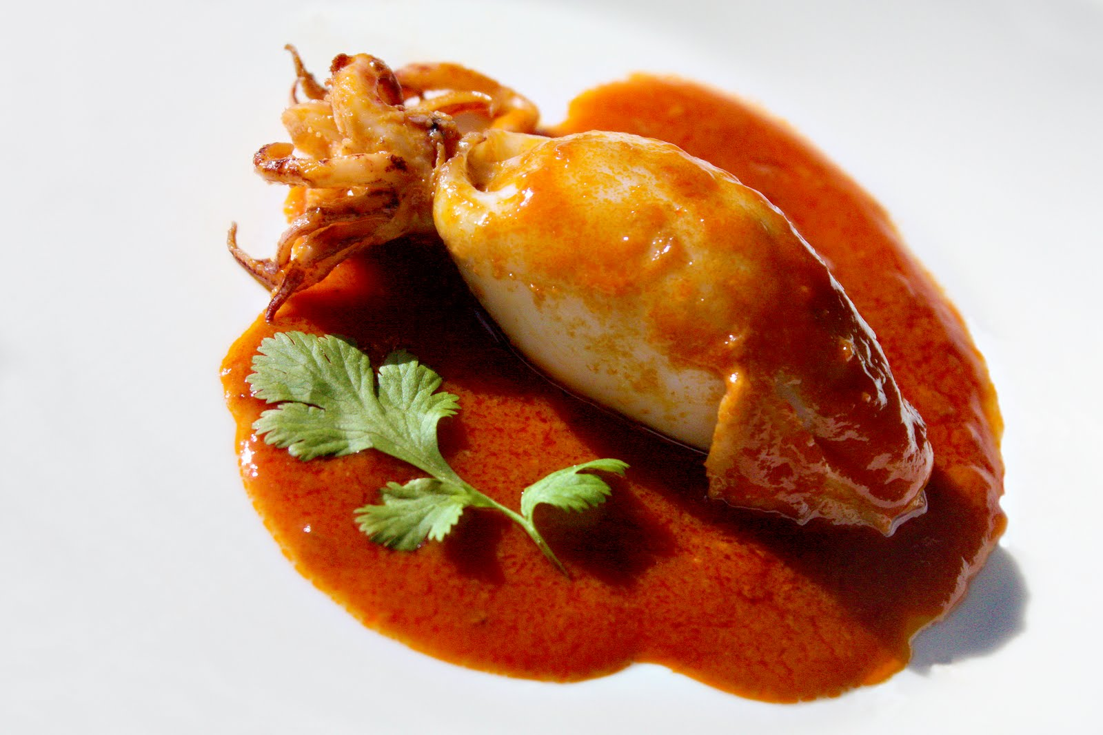 Stuffed Calamari Braised in Sriracha Sauce