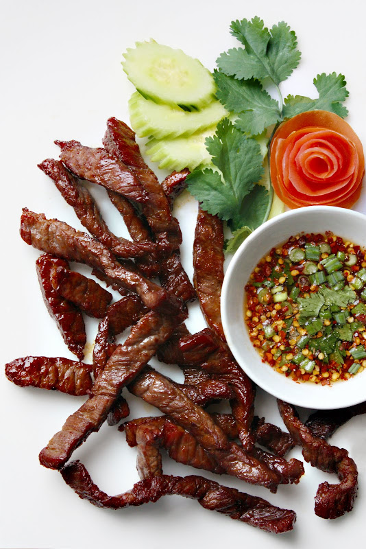 Sun-Dried Beef with Dried Chilli Dipping Sauce from Lers Ros Thai ...