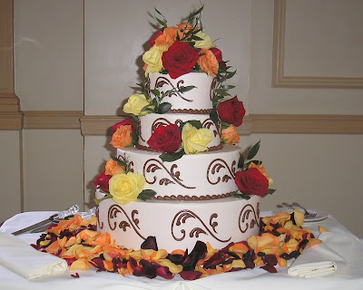 Fall Wedding Cake and Groom's
