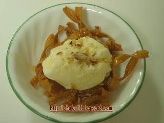 icecream dessert, sweet treat, noodles with icecream, noodles recipe, noodles dessert recipe, dessert recipe