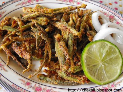 Crispy Okra, Kurkurit Bhendi, Fried Okra, Fried Lady finger, Bhindi fry, stir fry bhindi