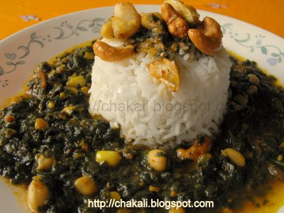 Spinach Amti, Palak curry, Spinach curry, Spicy spinach curry