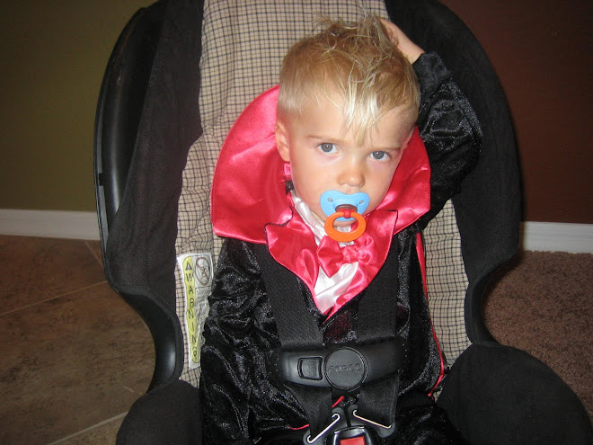 I had to wake Kolton up for Halloween but he didn't like it