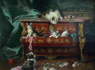 Jules LeRoy cats in a dresser painting
