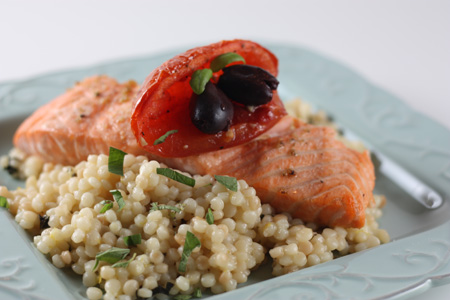 Salmon with Pearl Couscous, Slow Roasted Tomatoes and Lemon Oregano ...