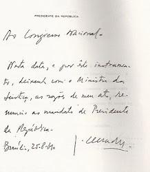 Carta de Renúncia do Presidente Jânio Quadros