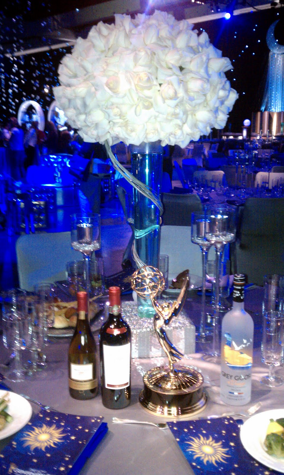 Starry night wedding reception tall centerpiece