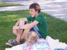 Seth on Sara's front lawn.