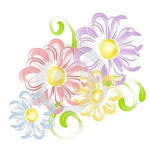  spring flowers in pen brush clip art thumb