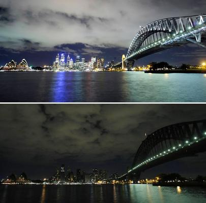 earth hour. EARTH HOUR PICTURES BEFORE AND