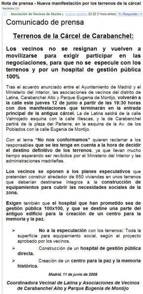 Nota de Prensa de la Asociación de Vecinos de Aluche