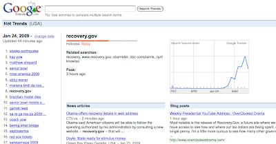 Image of google hot searches page. recovery.gov results.
