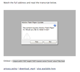 OOPS! Couldn't run the embedded video on my Mac. It did run fine from the Vimeo site.