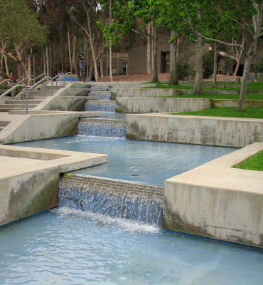 This is the upper portion of a fountain at UCSD near the Price Center (the