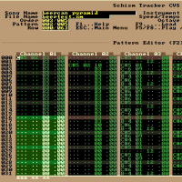 Schism Tracker (linux) editing 'beek-beercan-pyramid.xm' chiptune, my current test module for portamentos and arpeggios