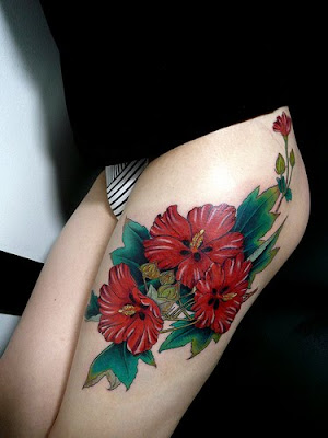 chrysanthemum flower tattoo. dragon tattoo thigh.