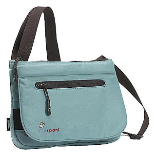 little light blue bag with low profile and long adjustable strap