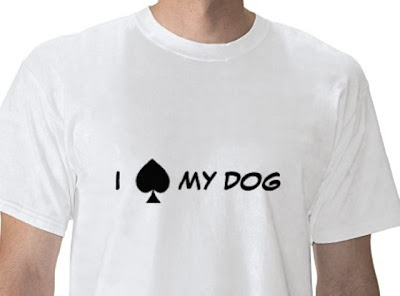 white t shirt that says I spade my dog, but the spade is a spade like on a playing card