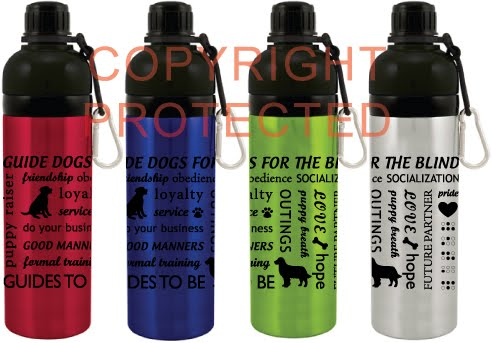 stainless water bottles in red, blue, lime and silver, with puppy raising and GDB words like puppy raiser, friendship, obedience, socialization, do your business, in a design all over the bottle, also includes silhouettes of lab puppy and golden retriever, and water written in braille