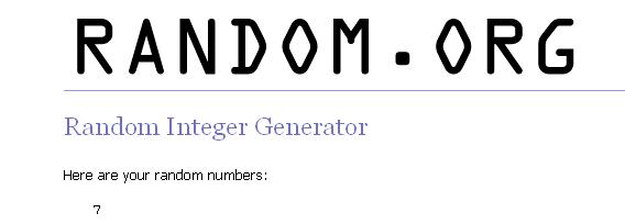 screenshot from random.com showing number 7 as the winner