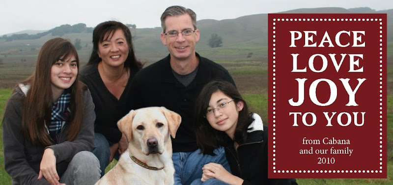 photo of our family, me husband and two daughters, kneeling down with cabana in front, with landscape of rolling hills in the background, text on a dark red background reads peace love joy to you from cabana and our family 2010