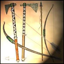 Arco e flecha, e Machados com haste de madeira, aço ou carbono