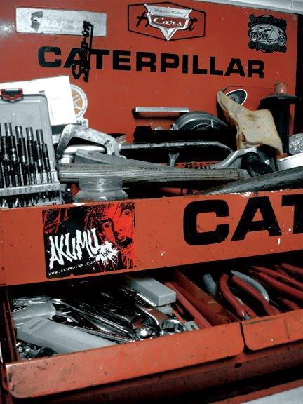 toolbox, red tool box, caterpillar