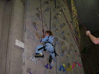 MHCC rock climbing wall in aquatic center