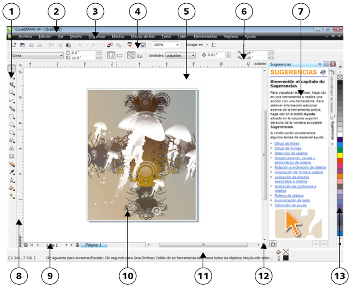 corel ecosiacomputación pantalla principal de corel draw