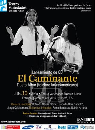 """LANZAMIENTO DE SU SEGUNDA PRODUCCIÓN DISCOGRÁFICA  """"EL CAMINANTE"""".  JULIO 30 DE 2009."""