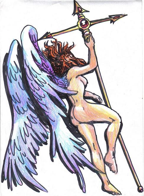 tatuaje forma angel. TATUAJE- ANGELICAL tinta indeleble y lapiz de color
