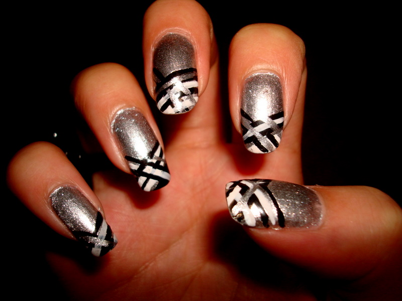 Crystals Nail Designs Silver With Black White Lines